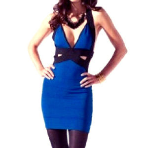bebe black blue side cutout open back deep v dress